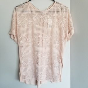 Nwt pink Lace back zipper short sleeve top shirt